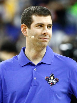 Eastern Conference head coach Brad Stevens during the NBA All-Star Practice at the Mercedes-Benz Superdome.