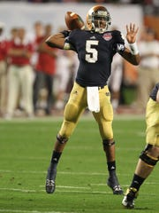 Notre Dame Fighting Irish quarterback Everett Golson.
