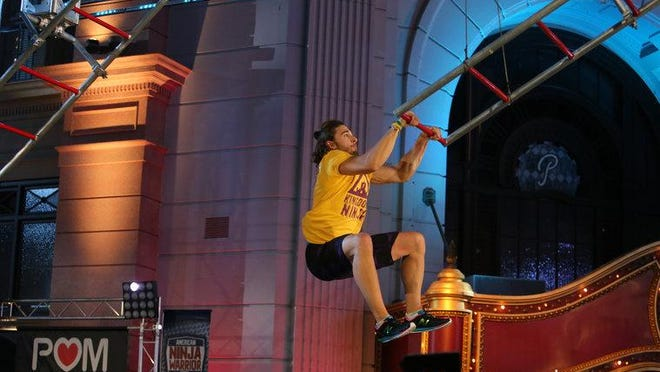 "Hunter Sipes competes in the Orlando regional finals on ""American Ninja Warrior,"" which aired Monday night. The Stevens Point native advanced to the national finals of the show by finishing 11th in the regional."