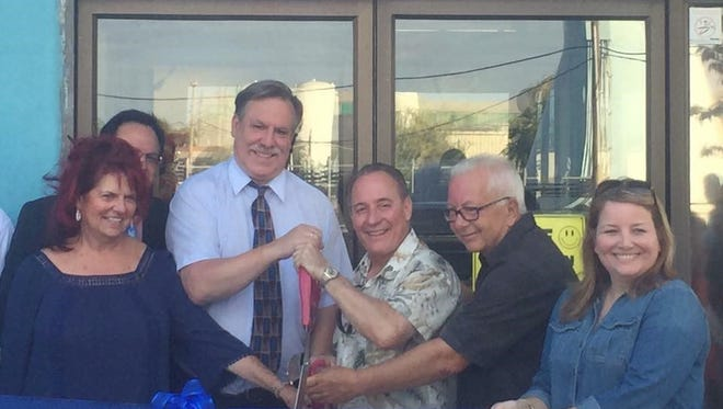 (From left) Boys & Girls Club of Vineland board member Diane Cristiano, Bob Romano, Club Director Chris Volker, Vineland Mayor Ruben Bermudez, board member John Asselta and board president Shirley Santos, officially open the club's teen center, The Youth For Change Center, in Vineland.