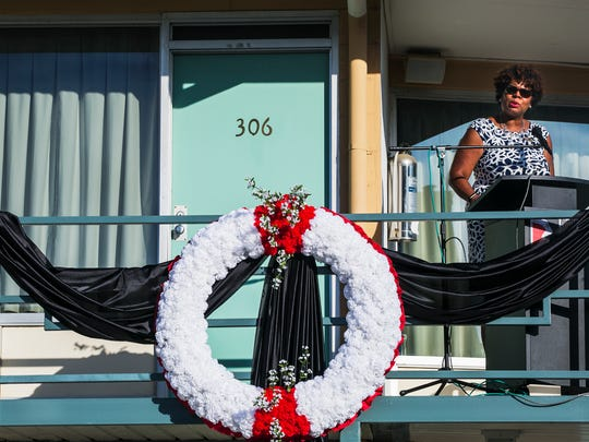 Terri Freeman, president of the National Civil Rights Museum, addresses the crowd during the MLK50: Where Do We Go From Here? 6:01 commemoration on April 4, 2017. Civil rights leader Dr. Martin Luther King Jr., 39, was assassinated as he stood on the balcony in front of Room 306.