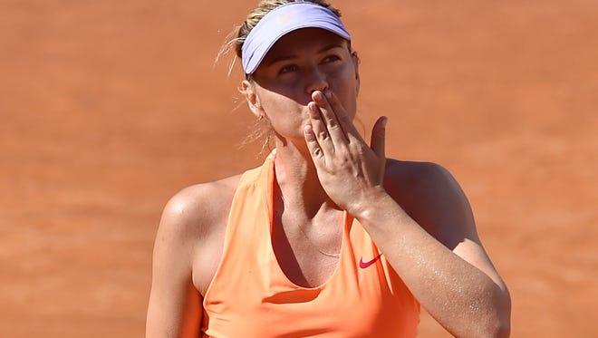 Sharapova celebrates a win on May 15 in Rome.
