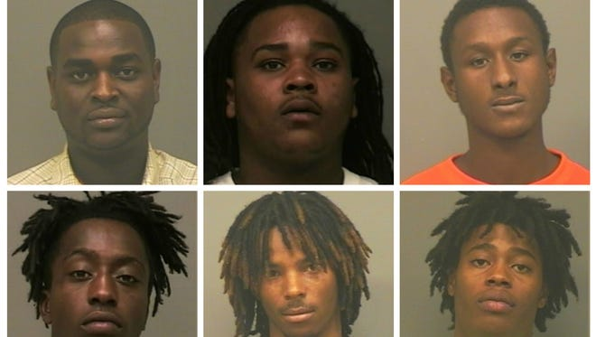 From left, top: Smith, Stacker, Bell. From left, bottom, Witchet, Kelly, Saafir