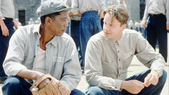 Tim Robbins, right, and Morgan Freeman appear in a