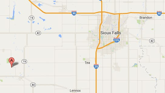 A collision just east of Marion on Monday sent two people to a Sioux Falls hospital.