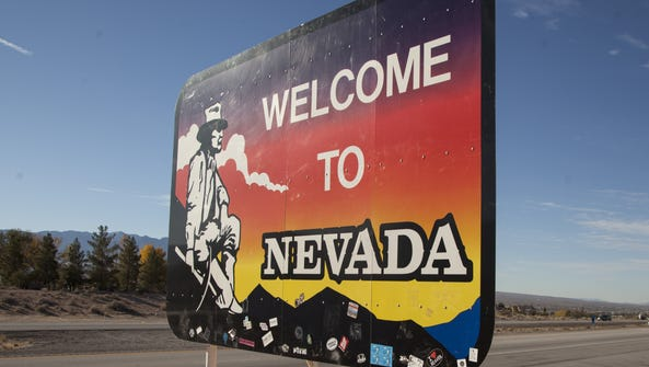 The Nevada welcome sign on Interstate 15 in Mesquite.
