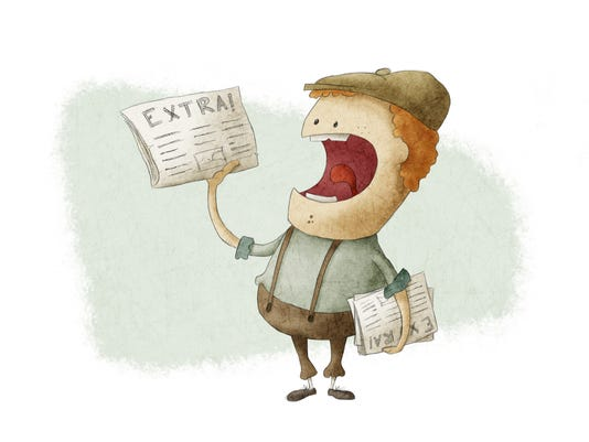 Image of retro newsboy selling newspaper