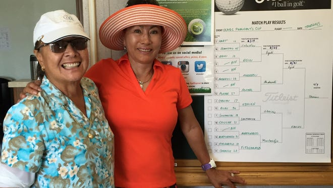 June O'Brien, right, edged Kathy Egidi in the final match of the Olivas Links Women's Golf Club's Presidents Cup match play tournament.