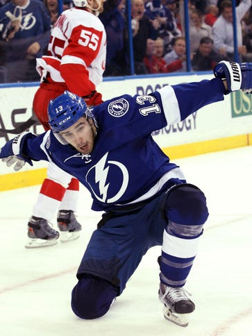 Tampa Bay Lightning center Cedric Paquette celebrates