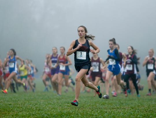 Runners take off at the start of the KHSAA Class A