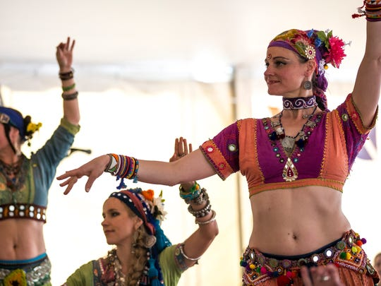 The Shuvani Tribal Bellydance group performs during the Portage County Cultural Festival at Stevens Point Area Senior High in Stevens Point, Wis., Saturday, May 12, 2018.