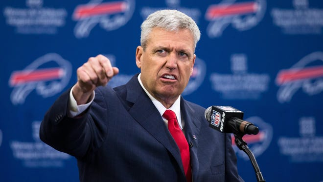 Rex Ryan speaks at a Jan. 14 news conference announcing that he is head coach of the Buffalo Bills.