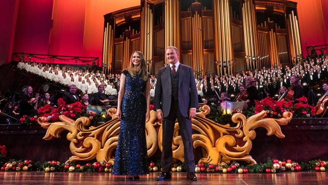 Sutton Foster and Hugh Bonneville are front and center at a concert by the Mormon Tabernacle Choir, airing Monday on PBS.