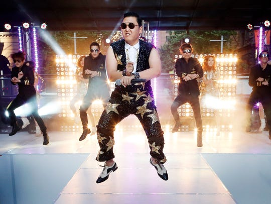 "South Korean singer Psy performs his hit ""Gangnam Style"""