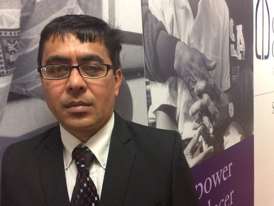 Bishnu Phuyal, a caseworker in the refugee resettlement