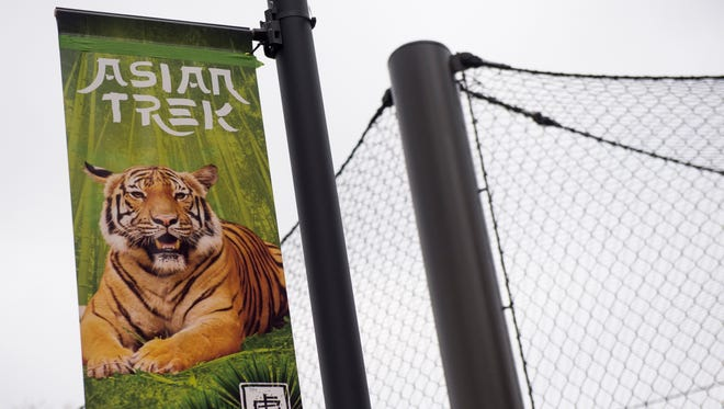 A sign in Tiger Forest, Zoo Knoxville's newest habitat facility for its Malayan tigers.