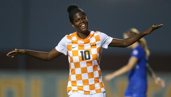 Midfielder/defender Khadija Shaw of Tennessee celebrates scoring a goal against Kentucky at Regal Soccer Stadium.