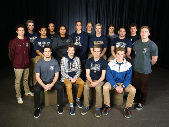 Front row: D.J. DeSomma, Manasquan, l, Matt DeGennar, Toms River High School North, Sam Rennard, CBA, Max Walther, Shore Regional High School. Back: Andrew Hall, Red Bank Regional, Paul Retterer, CBA, Cid Talag, Toms River High School North, Matthew Chang, Ranney School, Dylan Dela Cruz, Donovan Catholic High School, Michael Schober, Toms River North, Brenner Hinds, Manasquan High School, Christopher Schober, Tom River High School North, John Valgenti, Manasquan High School, Dimitri Maldonado, CBA, Connor Wright, CBA, Luke McDonald, Manasquan. 2018 All-Shore boys swimming. March 15, 2018. Neptune, NJ.