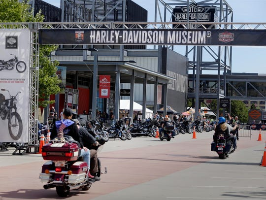 Harley riders pull into the Harley-Davidson Museum