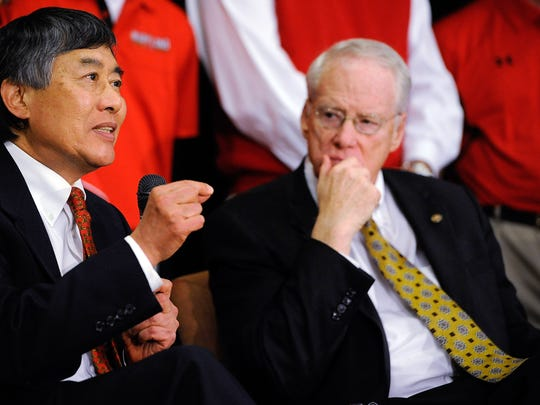 University System of Maryland Chancellor Brit Kirwan looks on as University of Maryland President Wallace D. Loh speaks during a press conference announcing Maryland's decision to join the Big Ten Conference  in 2012. Kirwan, now the chairman of Knight Commission on Intercollegiate Athletics, is concerned about the growth of athletics' expenditures.