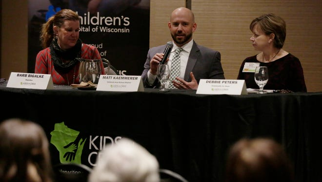 Matthew Kaemmerer, director of student services, Oshkosh Area School District, talks and answers questions during USA TODAY NETWORK-Wisconsin's Oshkosh Kids in Crisis town hall Tuesday, March 13, 2018, at the Best Western Premier Waterfront Hotel and Convention Center, Oshkosh, Wis.Joe Sienkiewicz/USA Today NETWORK-Wisconsin