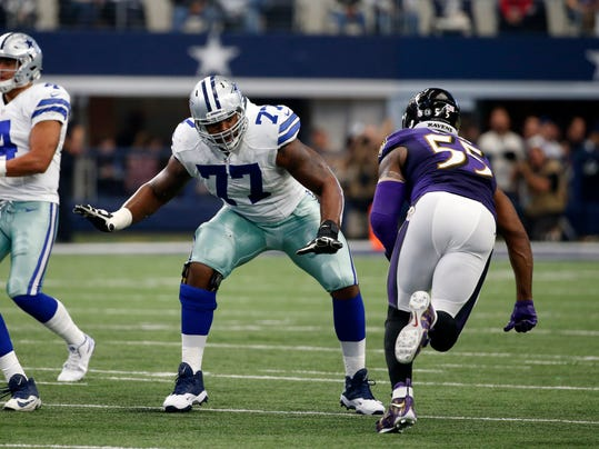 FILE -  In this Sunday, Nov. 20, 2016 file photo, Dallas Cowboys' Tyron Smith (77) defends against a rush from Baltimore Ravens' Terrell Suggs (55) during an NFL Football game in Arlington, Texas. The fuel for this dazzling season for the Dallas Cowboys can be found up front, with an offensive line that's helped make this team a handful to try to stop. The Cowboys play the Minnesota Vikings on Thursday, Dec. 1, 2016. (AP Photo/Michael Ainsworth, File)