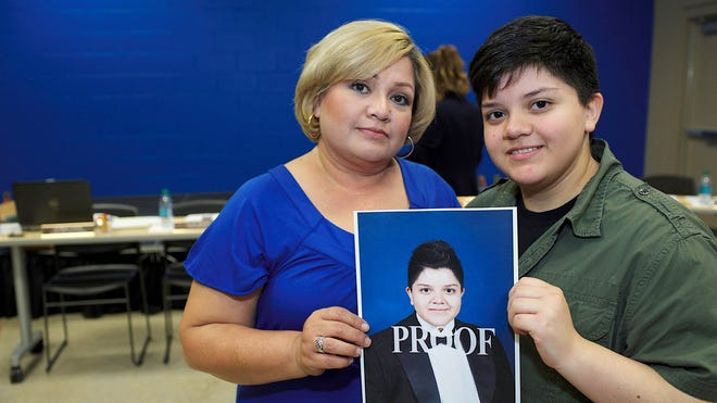 This photo provided by the Southern Poverty Law Center shows Stella Loredo, left, and her son, Jeydon Loredo, a South Texas transgender teenager who grew up female but now identifies himself as a male.