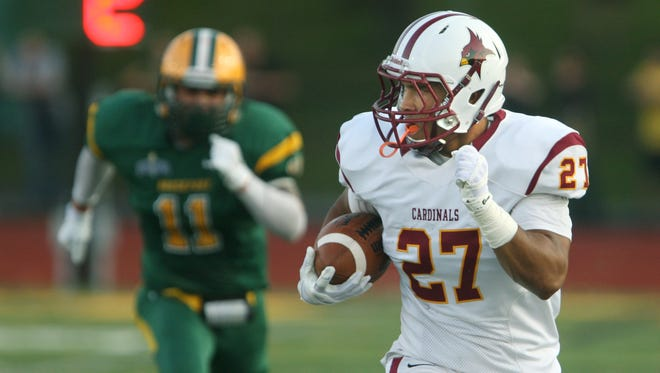 St. John Fisher's James Chambers is one of two sophomore running backs along with Tony Fusco that leads the Cardinals' rushing attack.