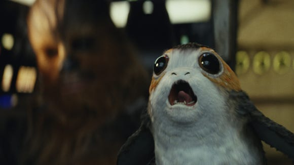 Chewbacca checks out Porgs in a scene from the 'Star