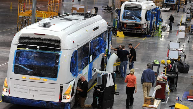 Buses on the assembly line at Proterra's Greenville factory.