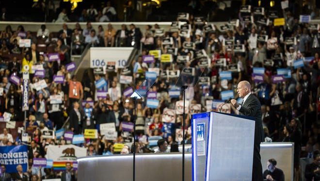 California Governor Jerry Brown speaks at the Democratic National Convention at the Wells Fargo Center in Philadelphia on Wednesday night. Organizers relied heavily on Airbnb to house attendees.