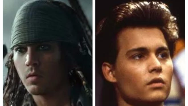 Johnny Depp as young Captain Jack Sparrow in 'Pirates of the Caribbean: Dead Men Tell No Tales' and young Johnny Depp in '21 Jump Street.'