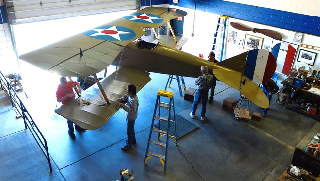 """For more than a decade, approximately 70 volunteers have helped restore the """"Tommy"""" plane, which was manufactured in Ithaca by the Thomas-Morse Corporation during World War I. The 100-year-old airplane is in the final stages of restoration and will be flown on September 29, 2018."""