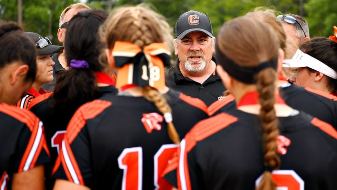 Central York softball head coach Jim Miller is see here in a file photo. His Panthers earned a 10-4 victory over Northeastern on Tuesday afternoon,