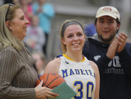 Madeira senior Mary Englert is recognized after breaking