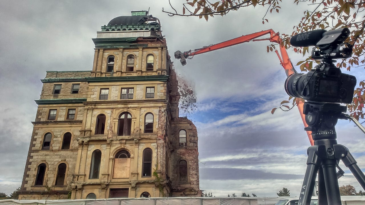 Photographers and spectators came to withness the final demollition work at historic Greystone Park Psychiatric Hospital in Parsippany. IPHONE VIDEO BY WILLIAM WESTHOVEN OCT. 14, 2015