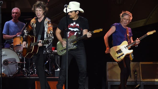 "Brad Paisley (white hat) joins Charlie Watts, Mick Jagger and Keith Richards of The Rolling Stones during The Rolling Stones North American ""ZIP CODE"" Tour at LP Field on June 17, 2015 in Nashville."