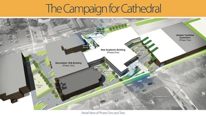 A drawing shows plans for a new Cathedral High School.