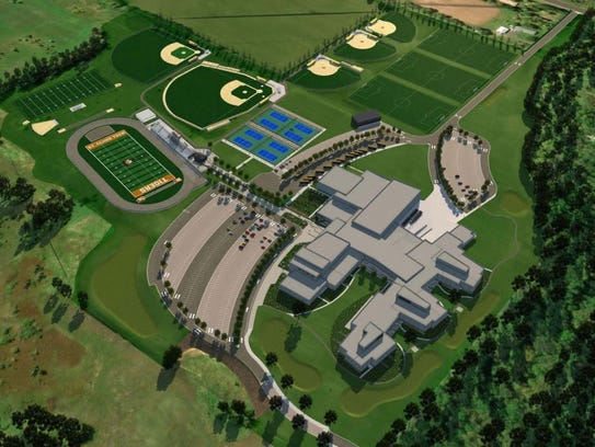 An aerial rendering of the Tech High School site from