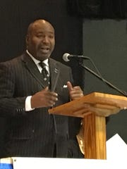 "The Rev. James E. Coleman, Jr., of Providence Transformation Ministries in Lynchburg, speaks at the ""Unity Prayer Breakfast"" on Saturday, Feb. 4, 2017, at St. Paul's United Methodist Church in Staunton, Va."