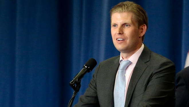 Eric Trump, son of Republican presidential hopeful Donald Trump, speaks during a campaign rally in Cincinnati, Ohio.