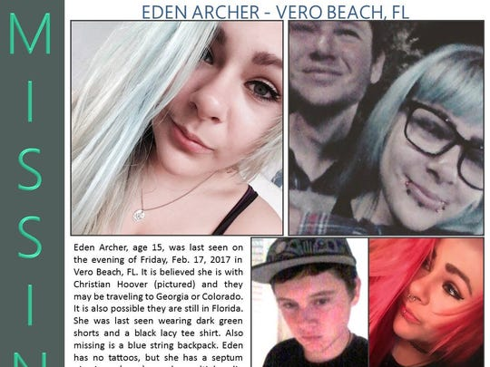 Eden Archer, 15, last was seen in Vero Beach on Feb. 17.