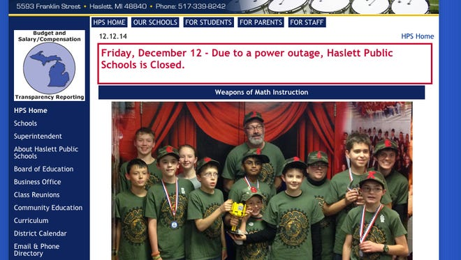 Post on Haslett Schools website about schools being closed.
