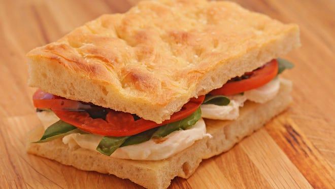 The mozzarella and tomato focaccia sandwich from Leoni's Focaccia in Scottsdale  on April 13, 2016.