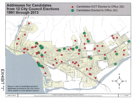 Map shows where City Council candidates and members have lived since 1991.