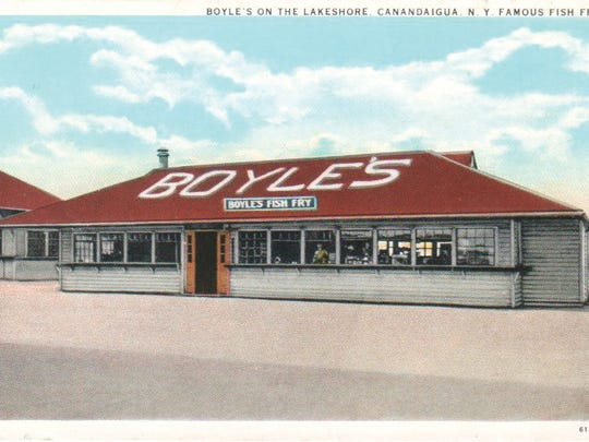 Boyle's Restaurant was a popular Canandaigua Lake north shore destination and famous for its fish fries in the 1930s, as depicted in this postcard image.