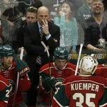 Wild head coach Mike Yeo gestures to Wild goalie Darcy Kuemper during the third period on Saturday, Feb. 13.