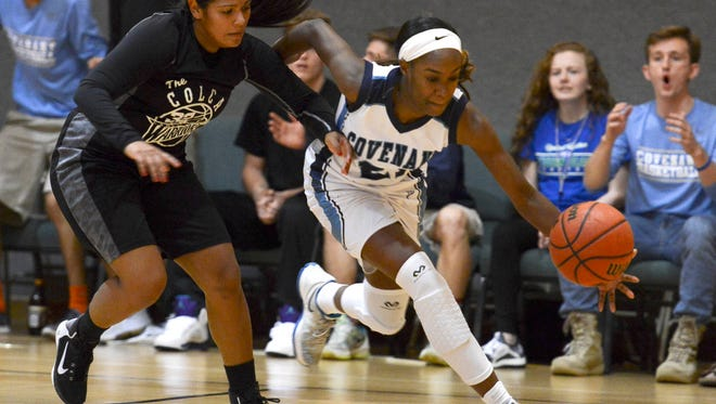 Julie Serrano of City of Life pursues Jayla Johnson of Covenant Christian during  Thursday's Class 2A regional semifinal