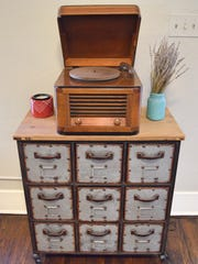 A vintage vinyl record player in this 1925 bungalow.