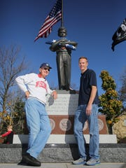 Lee Roy Wagner (left), who served as an Army supply clerk 1954-'56 at Fort Dix, N.J., is pictured with his guardian, Doug Johnsen, before they traveled on a Stars and Stripes Honor Flight in November 2015.